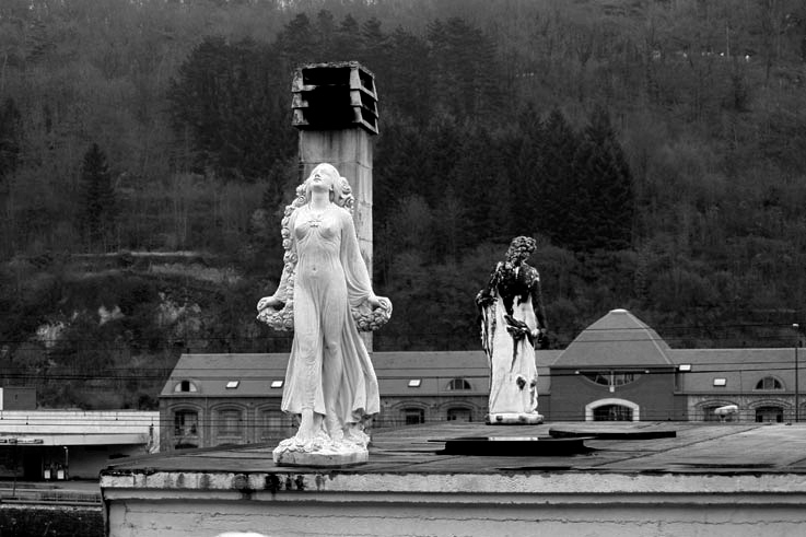 femme, extase, statue