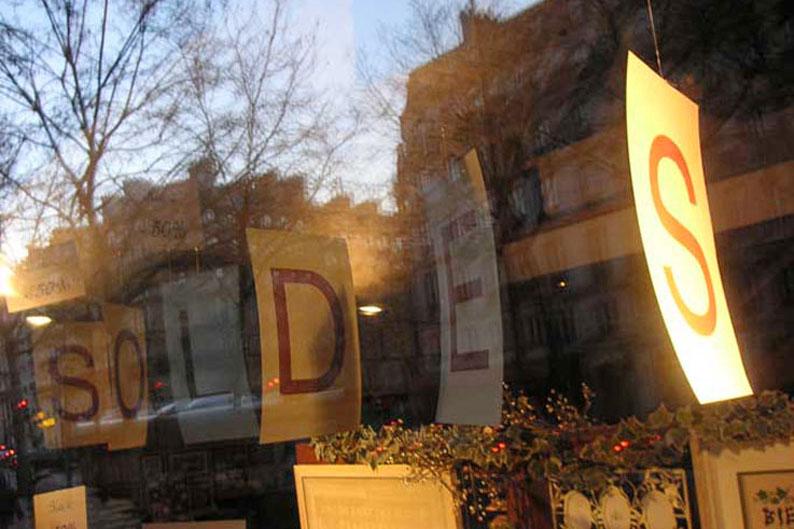 vitrine, paris, soldes, photo dominique houcmant, goldo graphisme