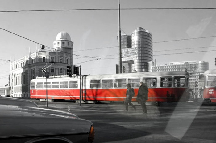 photo taxi, Urania Building, Vienne, tram, photo dominique houcmant