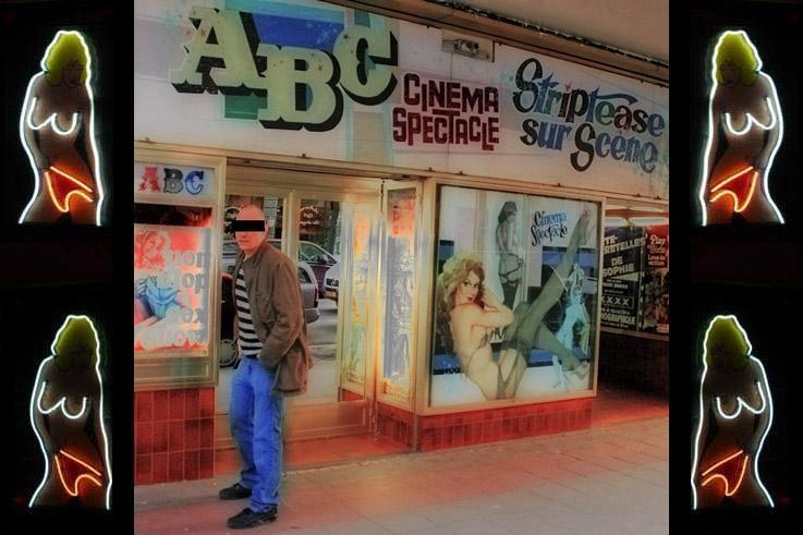 cinema porno ABC, cinema spectacle, non stop sex show, striptease sur scène, boulevard Adolphe Max, Bruxelles, Brussels by night, photo dominique houcmant, goldo graphisme