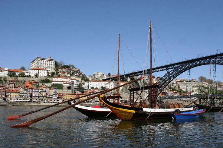 foto Porto, Douro e ponte Luis I, cais do Barcos Rabelos, carte postale de Porto, photo goldo graphisme