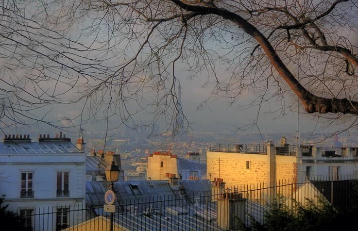 panorama Paris, Montmartre, tour eiffel, toits, photo dominique houcmant, goldo graphisme