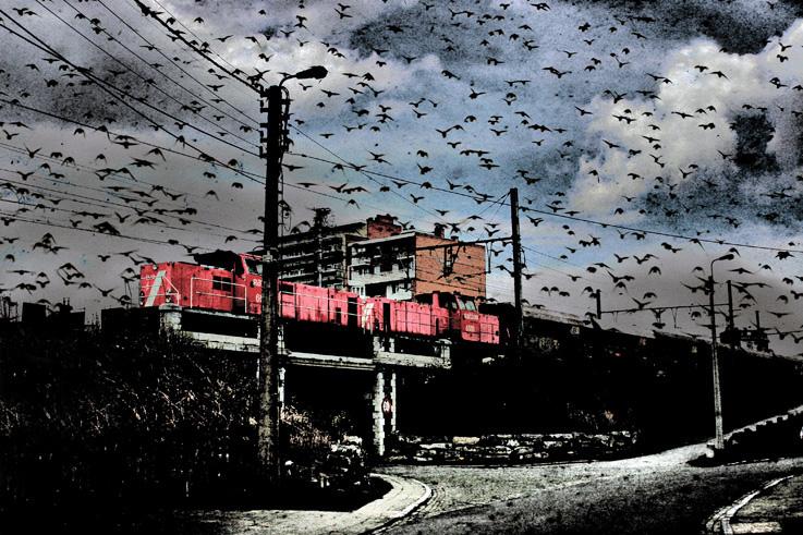 train de marchandise rouge, locomotive railion 6518, freight train red, photo dominique houcmant, goldo graphisme