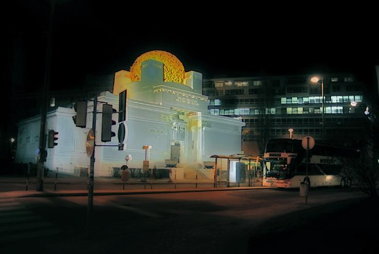 palais de la Secession viennoise, Vienne, Autriche, Wiener secession building, photo de nuit par dominique houcmant, goldo graphisme