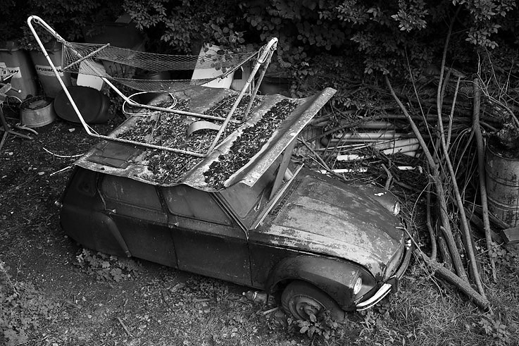 citroën Dyane, voiture, car, hamac, hammock,  © photo dominique houcmant