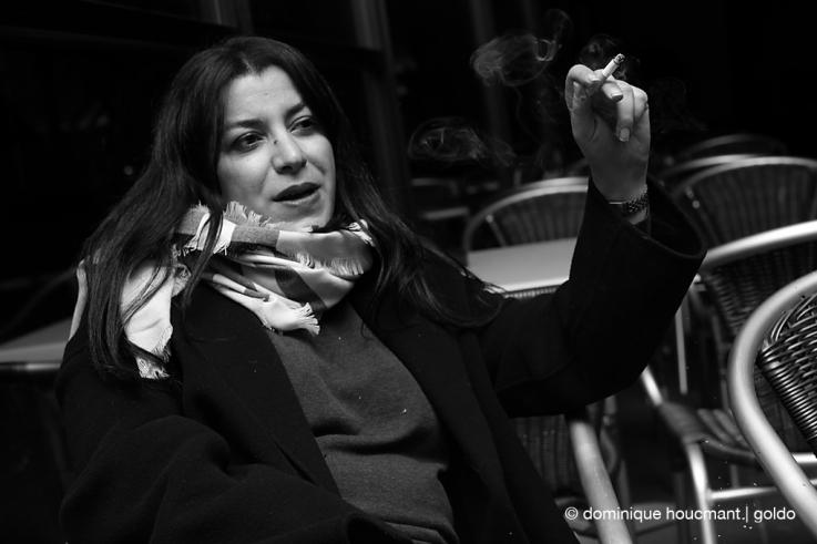 portrait, Marjane Satrapi, cinema sauvenière liège, de bon matin photo dominique houcmant, goldo graphisme