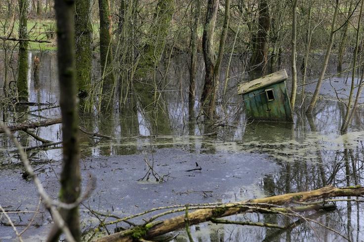 Cabane de Pêcheur dans les marais, fisherman's hut, Swamps, © photo dominique houcmant