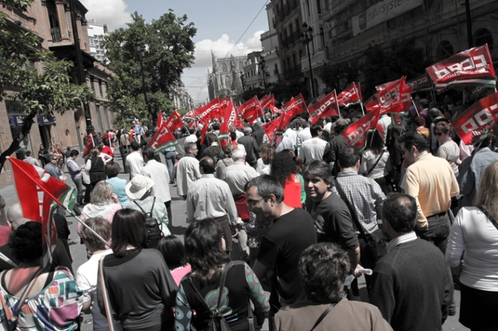 Manifestación 1 de mayo, ccoo, cgt, Sevilla, españa, espagne, spain, 1er mai manifestation, Labor Day, May Day demonstration, photo dominique houcmant, goldo graphisme