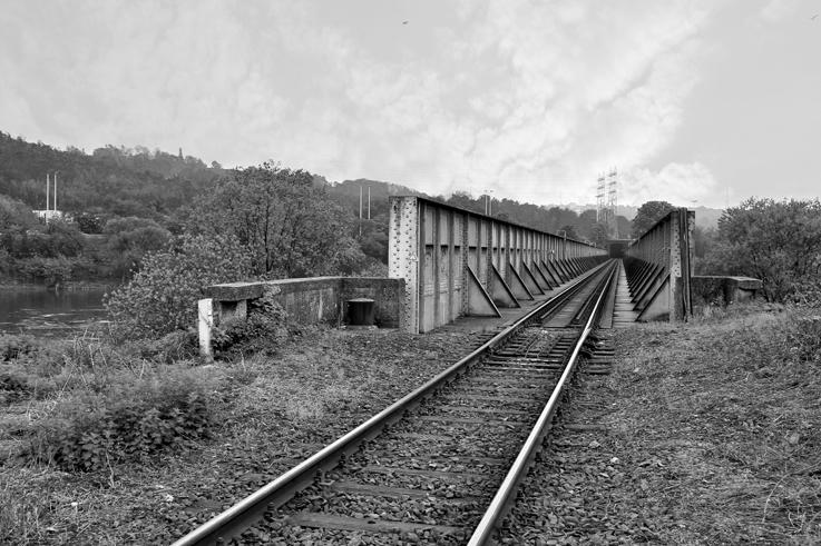 pont de chemin de fer en fer, ile monsin, liège, steel railway bridge, © photo dominique houcmant