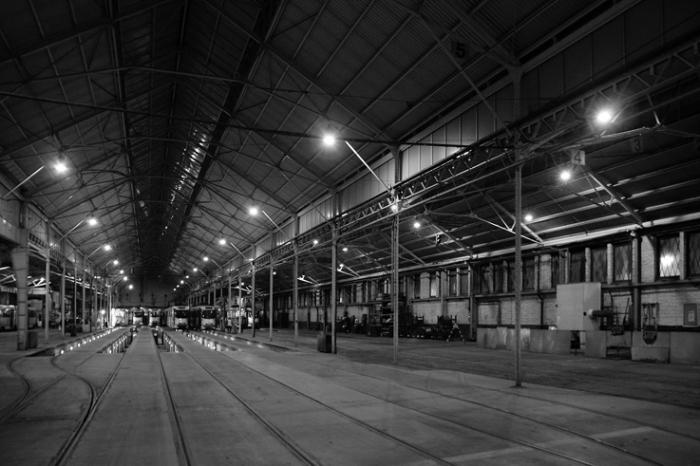 dépot des trams, Tramway de Bruxelles, saint-Gilles, streetcars, photo dominique houcmant, goldo graphisme