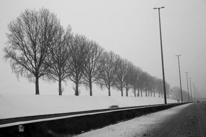 autoroute sous la neige E40, Liège-Bruxelles, snowy highway, hiver, winter, photo dominique houcmant, goldo graphisme