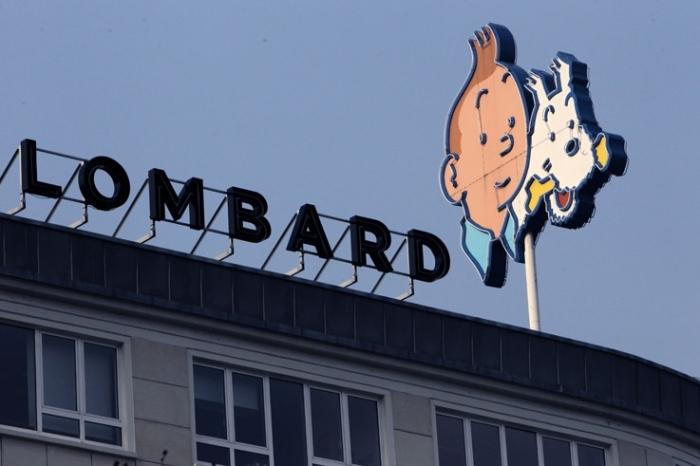 enseigne lumineuse Tintin et Milou, place Bara, Bruxelles, Le Lombard, © photo dominique houcmant