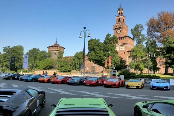 Lamborghini, Milano, Grande Giro Lamborghini 50° Anniversario, Italia, automobile, photo dominique houcmant, goldo graphisme