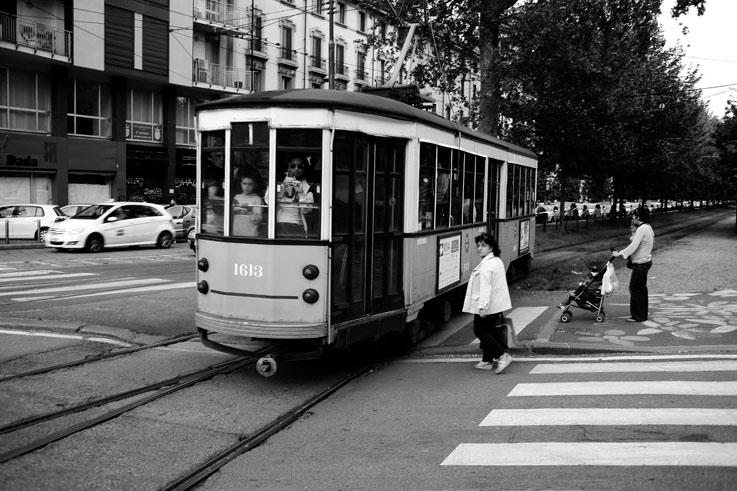 tram Peter Witt, Ventotto, ATM, Viale Vittorio Veneto, Milano, Milan, Italia, Italie, Italy, vintage streetcar, vieux tram, tranvia, © photo dominique houcmant