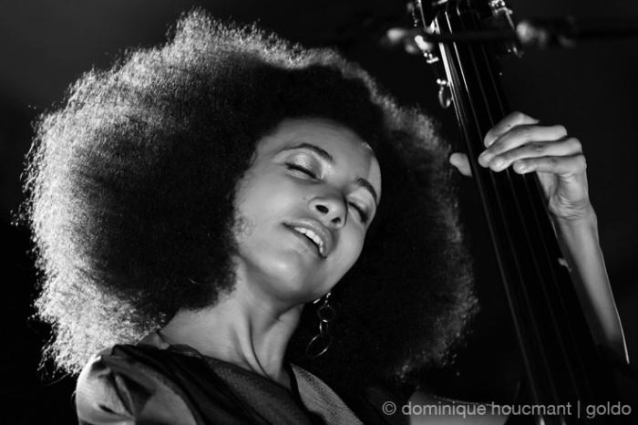 Esperanza Spalding, doublebass, contrebasse, live, concert, music, Comblain Jazz Festival, 2013, portrait, foto, photo dominique houcmant, goldo graphisme