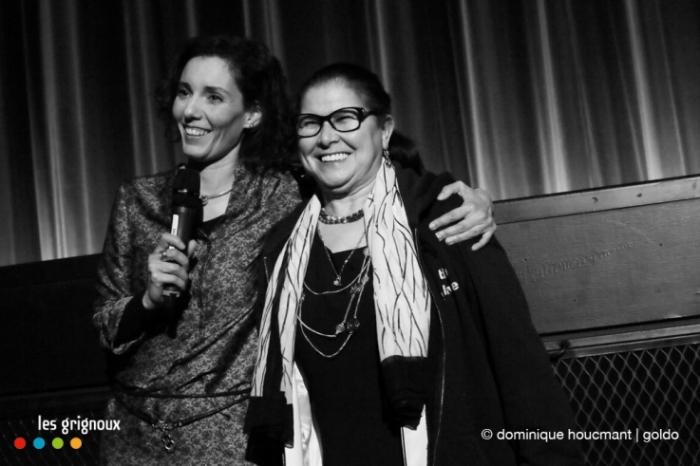 la journaliste Hadja Lahbib et la slameuse marocaine Tata Milouda, cinéma le parc, les grignoux, © dominique houcmant | goldo