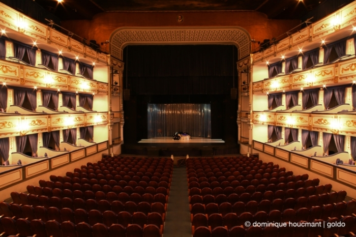 teatro Cervantes Malaga  escenario, théâtre à l'italienne, la scène, italian theater, stage, photo dominique houcmant, goldo graphisme