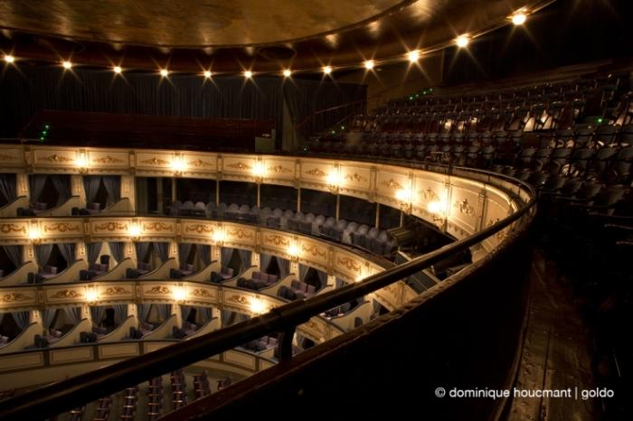 teatro Cervantes Malaga, tercer balcón, théâtre à l'italienne, la grande salle depuis le troisième balcon, italian theater, third level balcony, photo dominique houcmant, goldo graphisme