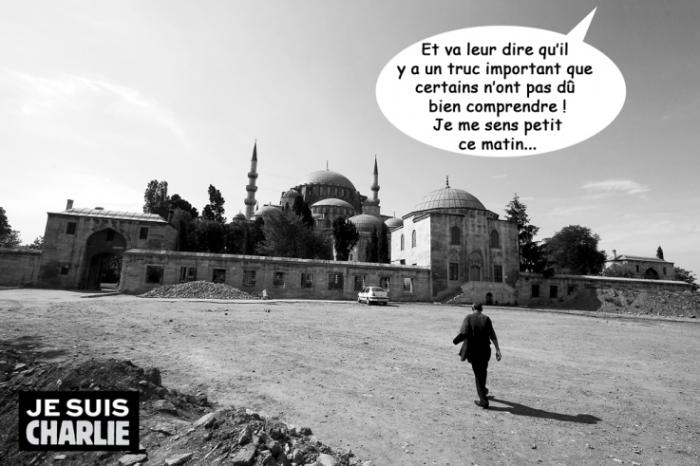 Je suis Charlie, photo d'humeur après le massacre de Charlie Hebdo, Allah parle aux Musulmans, © photo dominique houcmant