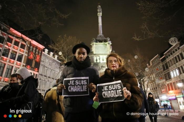 Je suis Charlie, la réalisatrice française Marie-Castille Mention-Schaar et le scénariste et comédien Ahmed Dramé, Liège, le mercredi 7 janvier 2014 © photo dominique houcmant