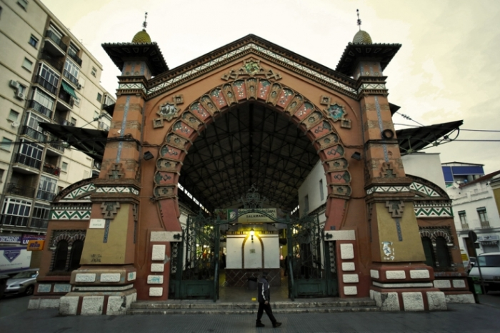 La gran puerta, Mercado Municipal de Salamanca en Málaga, España, Spain, Espagne, marché couvert, Market hall, covered market, photo dominique houcmant, goldo graphisme