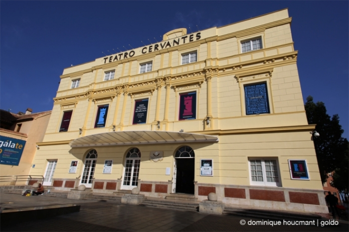 teatro Cervantes Malaga, fachada, façade du théâtre, cervantes theater facade, photo dominique houcmant, goldo graphisme