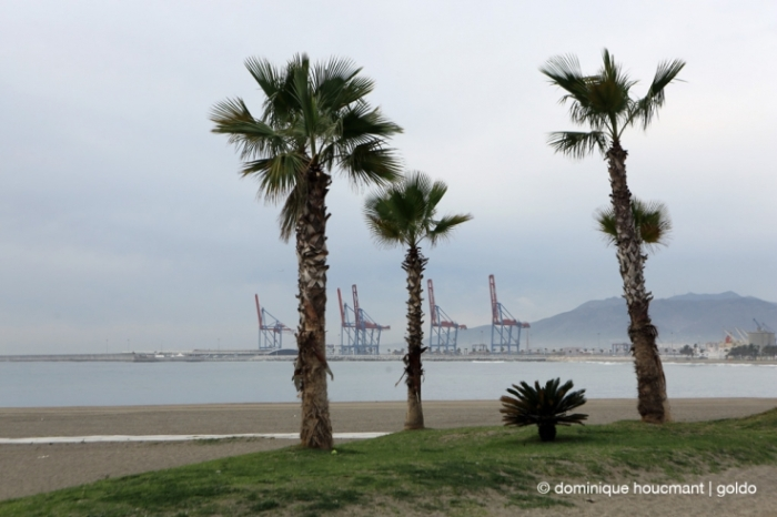 photo Playa de La Malagueta, Malaga, españa, plage, beach, palmier, mer méditerranée, palm trees, sea, port, grues, cranes, © photo dominique houcmant