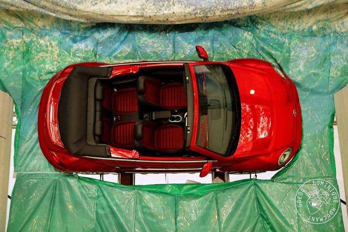 voiture, auto, VW, Beetle, cabriolet, exposition, rouge,